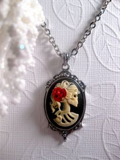 Red Rose Lolita Skull Lady Skeleton Cameo by FashionCrashJewelry
