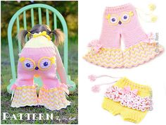 fiesta owl pants and ruffled bloomer shorts crochet pattern pdf