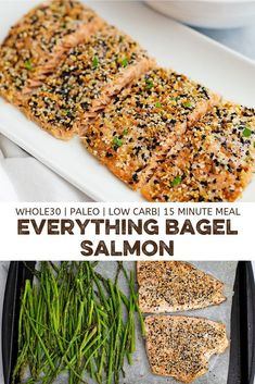 Everything bagel salmon is the perfect quick and easy weeknight meal! Ready in 12 minutes, this recipe for everything bagel salmon is gluten free, paleo, keto and Whole30 friendly! Perfect for weeknight meals or entertaining!