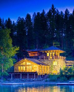 Western Rustic Timber & Stone Lakefront Cabin Remodel