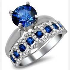 White Gold Plated 925 Sterling Silver Blue Sapphire Diamond Engagement Ring Bridal Set