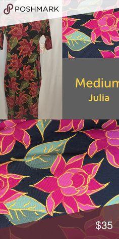 LuLaRoe Julia Size: Medium NWT LuLaRoe Julia Size: Medium NWT  Black background with Floral print. Perfect Condition. LuLaRoe Dresses