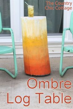 Decor Hacks :     Ombre Log Table — take a log from any tree and turn it into a fun outdoor table with this craft tutorial.    -Read More –