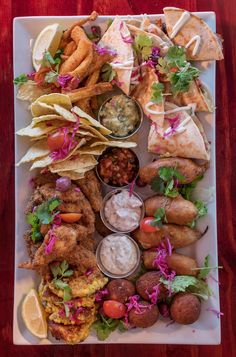 Combo Fiesta Platter form The Fat Cactus Mexican Dips, Corn Fritters, Food Platters, Top Restaurants, Calamari, Base Foods, Quesadilla, Nachos, Fresh Herbs