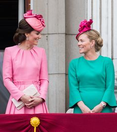 (L-R) Catherine, Duchess of Cambridge and Autumn Phillips stand on the balcony of Buckingham Palace at the annual Trooping The Colour parade on June 17, 2017 in London, England.