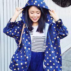 Polka dot Gorman raincoat & Lilya suede shorts ❤️
