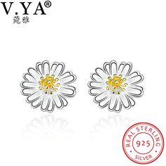 V.YA 925 Sterling Silver Earrings for Women Chrysanthemum Stud Earrings for Ladies Female Silver Jewelry Accessories