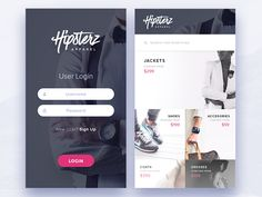 Clothing Store – Login and Store Screens Experiment I decided to continue the development of my imaginary clothing store company and also designed the store screen. Mobile Login, App Login, Login Form, Mobile App, Login Page Design, Design Ios, Mobile Ui Design, Form Design, Graphic Design