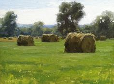 Kevin Menck Fine Art: Happenings in Middle Tennessee Hay Bales, Various Artists, Color Mixing, Landscape Paintings, Canvas Paintings, Green Landscape, Watercolor, Fine Art, Creative Art