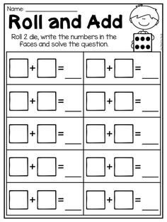 Roll and add addition worksheet for kindergarten. This packet is jammed full of addition and subtraction worksheets to help your students master the basic facts. It includes 36 engaging worksheets which cover both addition and subtraction facts up to 10. Students will be practicing picture addition/subtraction, using number lines, finding missing addends, making ten and so much more! It is perfect for whole-class activities, math stations, fast finisher activities and review.