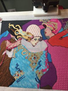 needlepoint ladies in flapper hats, designer unknown