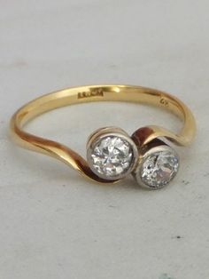 Stunning Art Deco 1/2 carat Diamond 18ct gold crossover ring | eBay