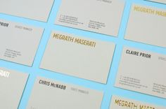 Identity and business card design with gold foil detail created by Red for Maserati restoration and parts specialists McGrath Maserati.