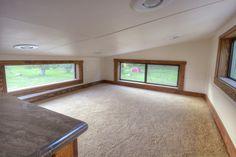 Morrison hOMe built by EcoCabins, master bedroom loft. Plenty of light and a built in dresser.