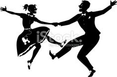 Rock and roll dancing silhouette royalty-free vector art illustration
