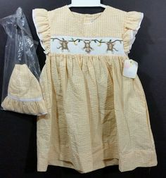 Petit ami girls smocked dress & hat monkey's & yellow gingham sz. 3T NWT NEW in Clothing, Shoes & Accessories, Baby & Toddler Clothing, Girls' Clothing (Newborn-5T) | eBay