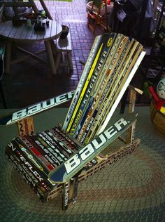 My own creation. Upcycled/ recycled and sparing good ol' hockey sticks the indignity of the dump!