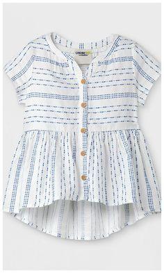 Toddler Girls' Cap Sleeve Stripe Blouse for spring #toddler #affiliate