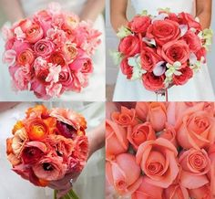 Coral wedding bouquets, beautiful~ Join Carlyna   #Carlyna   #wedding   #bouquet   #coral   #fashion   #eveningdress   #beauty