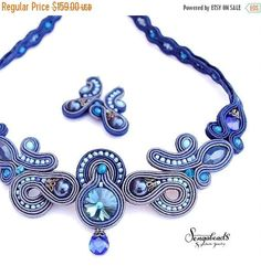 Items similar to Soutache set. on Etsy Soutache Necklace, Blue Necklace, Necklace Set, Braids With Beads, Paper Earrings, Unusual Jewelry, Mocca, Stone Earrings, Beaded Jewelry