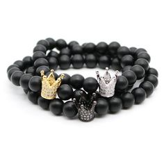 Black Natural Matte Onyx Beads with Crown Charm