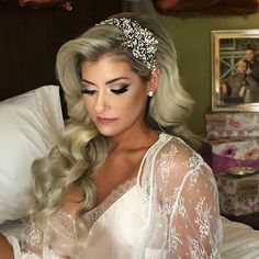 Weddingday glam for our stunning bride Caren! Crystal encrusted bridal headpiece by Bridal Styles Boutique.