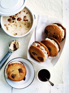 Choc-chip Cookies with Salted Peanut Semifreddo via Gourmet Traveller