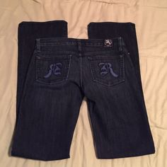 """❤️Rock & Republic Jaguar Jeans❤️ 100% authentic Rock & Republic jeans.  I only buy and sell authentic items.  Size: 27 Inseam: 35"""" Rise: 7 1/2"""" Cut # 002522 Color Code: FNCE These are boot cut jeans. 70% Cotton & 30% Polyester   No rips or stains. They pretty much look new other than the slight blemish shown on the back bottom leg towards the ground.  NO TRADES  NO HOLDS  NO ️️  My home is smoke free & pet free!!!! I do ship quick!!! Purchased off of here but took them to have them checked…"""