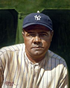 Baseball Art - Babe Ruth by Craig Kreindler My Yankees, New York Yankees Baseball, Baseball Art, Angels Baseball, Baseball Quotes, Baseball Gifts, Baseball Field, Babe Ruth, Youth Baseball Uniforms