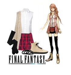 """""""Final fantasy Serah Farron"""" by haruno-hikari ❤ liked on Polyvore featuring H&M, T By Alexander Wang, Daytrip, Dr. Martens and Furla"""