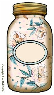 ArtbyJean - Bottles: Mason Jar with blank label, gold screw top lid and floral pattern