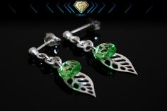 Swarovski silver leaf earrings. Leaf Earrings, Dangle Earrings, Swarovski Jewelry, Leaf Design, Belly Button Rings, Dangles, Leaves, Crystals, Silver