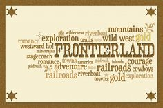 """Frontierland Word Cloud - Title card - Project Life Filler Card - Scrapbooking ~~~~~~~~~ Size: 6x4"""" @ 300 dpi. This card is **Personal use only - NOT for sale/resale** Frontierland belongs to Disney. Fonts are Duality www.dafont.com/duality.font and Nashville www.dafont.com/nashville.font *** This card is only available in this 6x4"""" size ***"""