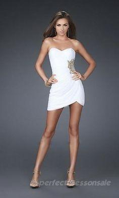 Sheath Natural Prom Dresses Short White Prom Dresses 01522