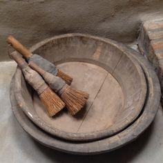 Prachtige oude vergrijsd houten schaal bak