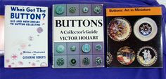 ButtonArtMuseum.com - Lot of 3 Vintage Hardcover Books on Button Collecting w Dust Jackets