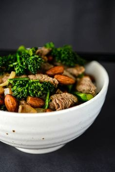 Beef, Broccolini & Almond Stir-Fry by amazingalmonds: A tasty, nutrient-dense meal made in a flash. #Beef #Broccolini #Almond #Healthy #Fast