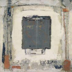 Grey-Ochre-Blue, Marilyn Jonassen, 2008, encaustic on clay board, 16in x 16in x 2in