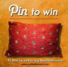 Pin to Win this pillow from our traveling Red Tent. Be sure to @Sarah Chintomby Therese Tent Movie so that we can find you and then you can be the winner. The winner will be chosen March 31, 2014.