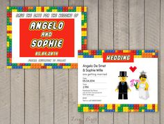 Lego Wedding Invitation set - Save the Date, invitation - by SophiesLoveBirds on Etsy