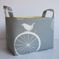 Fabric Basket Storage Organizer Container Bin - Birdie Spokes in Gray/Grey. $18.00, via Etsy.