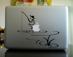 Amazon.com: Stickman Sitting on Apple Fishing Macbook Decal Skin Sticker Laptop: Computers & Accessories
