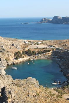 Heart shaped St Pauls Bay in Lindos, Greece