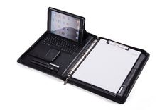 Deluxe Leather 3-Ring Binder with Bluetooth Keyboard for iPad Mini and 11-inch MacBook