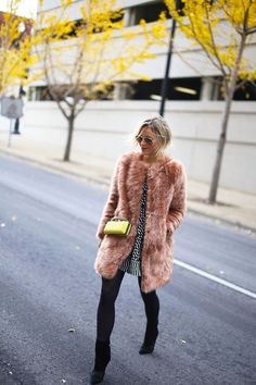 Mix it up with texture by adding a fuzzy jacket, patterns and pops of color. It all works. Cold Weather Fashion, Cold Weather Outfits, Winter Outfits, Cozy Outfits, Winter Chic, Autumn Winter Fashion, Winter Style, Fur Coat Outfit, New York Outfits