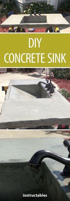 54 Ideas bathroom sink remodel diy concrete countertops for 2019 Diy Concrete Countertops, Outdoor Kitchen Countertops, Kitchen Counters, Quartz Countertops, Concrete Bathroom, Concrete Kitchen, Concrete Cement, Bathroom Sinks, Kitchen Sinks