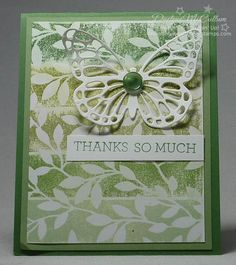 http://dreamingaboutrubberstamps.com - Irresistbily Yours Painters Tape Card - what a fun and easy ombre technique using the Butterfly Basics and Butterflies thinlits from Stampin' Up!
