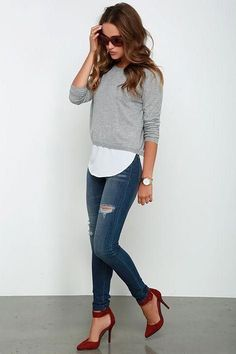 Grey Sweater Outfit Ideas made my day grey sweater top cute outfit womens fashion Grey Sweater Outfit. Here is Grey Sweater Outfit Ideas for you. Grey Sweater Outfit outfit black cut out skirt grey sweater quantum. Mode Outfits, Fall Outfits, Casual Outfits, Fashion Outfits, Office Outfits, Office Wear, Summer Outfits, Casual Date Night Outfit, Dress Casual