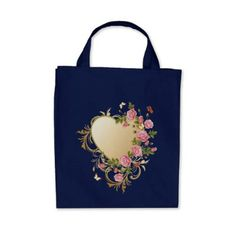 Victorian Heart Grocery Tote Bag - valentines day gifts love couple diy personalize for her for him girlfriend boyfriend