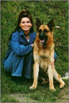 Shania Twain with her German Shepherd.